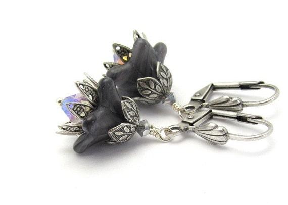 Flower Earrings Black Vintage Flowers Amethyst Swarovski Crystals Steampunk Flowers Hawaiibeads
