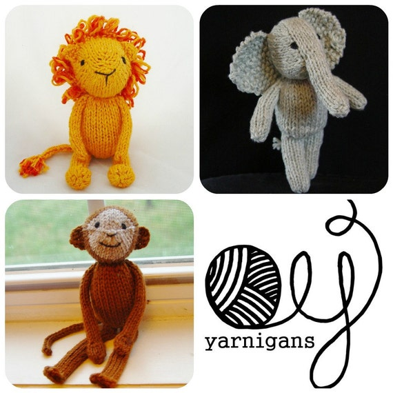 Three Pattern Special Jungle Animals knitting by Yarnigans