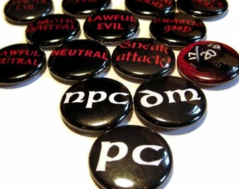 Geeky Gaming set of 14 - Buttons or Magnets