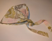 WOMENS HEADSCARF with ties - Amy Butler Fresh Poppies in Linen headscarf with ties