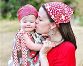 Womens Headscarf, Amy Butler cherry wallflower headscarf