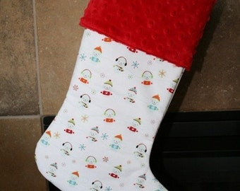 CHRISTMAS STOCKING - Little Snow People on White Stocking