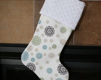 CHRISTMAS STOCKING - Teal Vintage Snowflakes CHRISTMAS Stocking