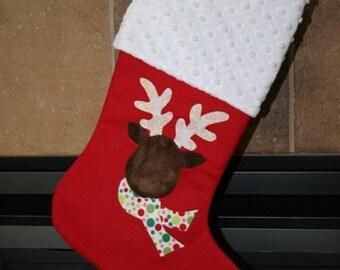 CHRISTMAS STOCKING - Fuzzy Reindeer Christmas Stocking - Custom Reindeer Applique