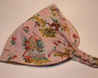 BABY GIRL HEADSCARF - red ridinghood on PiNk - child headscarf