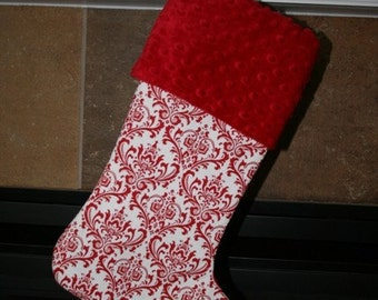 CHRISTMAS STOCKING - Madison Red on White Damask Christmas Stocking