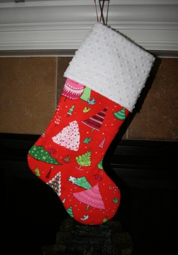 PERSONALIZED CHRISTMAS STOCKINGS - Winter Wonderland on Red Christmas Stocking
