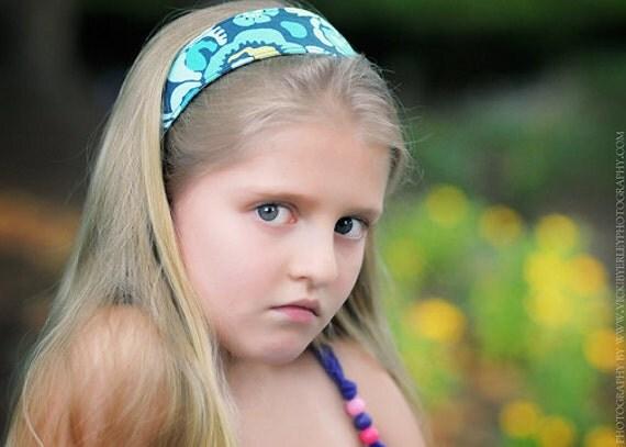 "Headband - Amy Butler Deco Rose in blue and moon dot 2"" reversible hard headband"