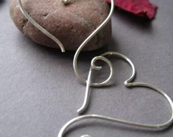 Open Heart Earrings With a Twist