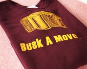 Busk a Move.  Adult's EGGPLANT Sweatshirt complete with Accordian.  Size Large