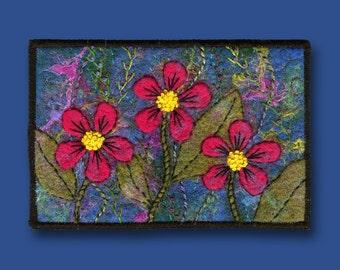 SALE - Fiber Postcard (Three Flowers) - Free Shipping