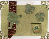 Hand crafted St. Patricks day card, metal embellishments, removable button pin