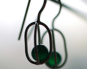 Gravity Collection: Sterling Silver Earrings with Floating Green Onyx - Free Domestic Shipping