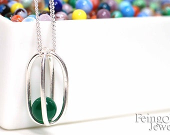 Gravity Collection: Sterling Silver Necklace with Floating Green Onyx - Sterling Silver 18 Inch Chain- Free US Shipping