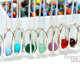 CUSTOM Birthstone Sterling Silver Necklace with Floating Gem - Sterling Silver 18 Inch Chain- Free US Shipping