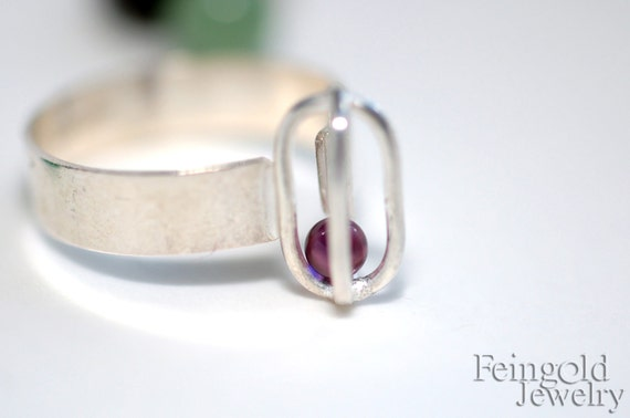 Gravity Collection: Sterling Silver Ring with Floating Lilac Glass (SIZE 7.5)
