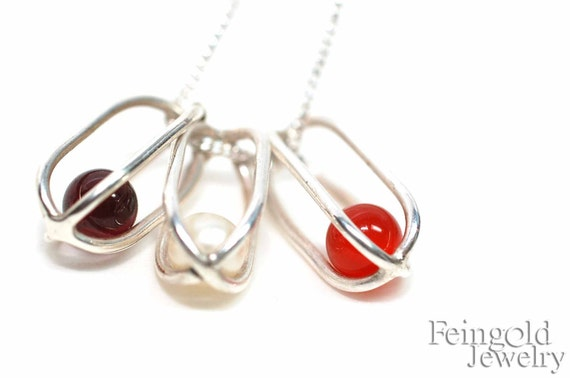 Three Birthstone Custom Necklace - Mother of three - Sterling Silver - Three Gems - Three Cages -  Free US Shipping - Gift for Mom