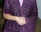 SALE .. Lacey Crocheted Shawl in Shades of Purple