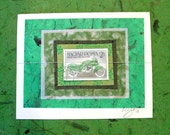 Handmade Hungary GREEN MOTORCYCLE Postage Stamp CARD