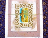 Handmade Egypt ANCIENT OF SAHARA  Postage Stamp CARD