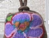 Sheknits Loop in a Loop Bag Big Purple Flower on Oak