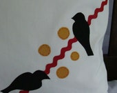 Two Birds  on a Vine Pillow - 16 X 16 FREE SHIPPING