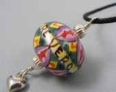 Reserved for Margie -- Purple Handpainted Ceramic Bead Pendant with Italian motto - True Love Is Patient