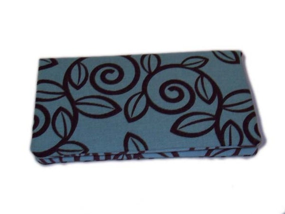 Chocolate Vines in Blue Checkbook Cover