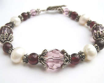Bracelet - Pearl, Garnet and Crystal - New Price