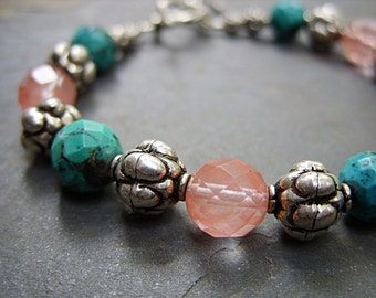 Bracelet - Turquoise and Cherry Quartz