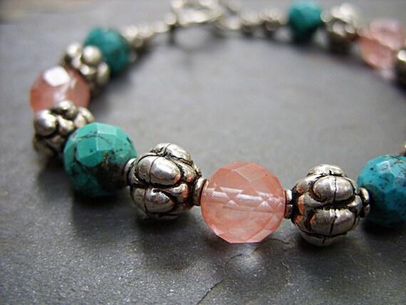 Bracelet - Turquoise and Cherry Quartz