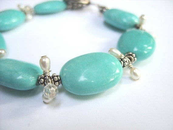 Bracelet - Turquoise with Freshwater Pearl and Crystal Dangles