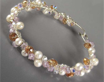 DIY Tutorial Instructions ONLY for Swarovski and Pearl Scatter Bracelet Bangle in Sterling Silver