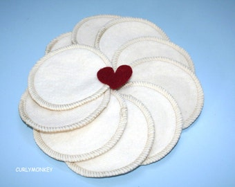 10 Organic Cotton Facial Rounds - Reusable Makeup Pads- Organic Facial Rounds - Hemp Cosmetic rounds