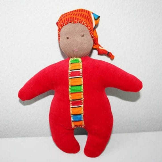 "organic baby waldorf dolls: eco-friendly soft baby toys 8"" red"