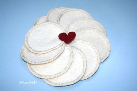 10 Organic Cotton Facial Rounds - Reusable Makeup Rounds - Organic Facial Pads - Hemp Organic Cotton Fleece