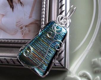 Green Swirl Dichroic Glass Pendant