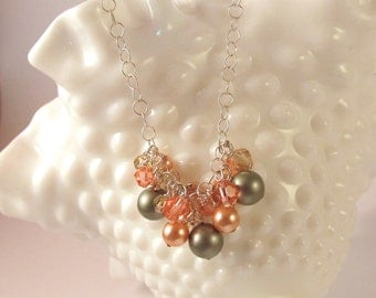 Pearl Cluster Necklace - Swarovski Crystals and Pearls