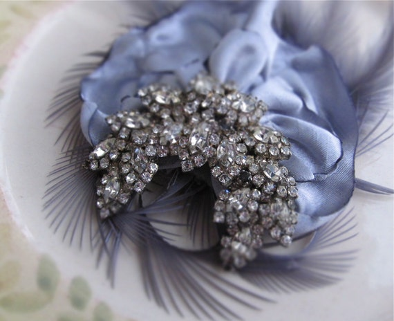 Vintage Brooch Bridal Hair Fascinator - Silver, Grey, Rhinestone, Feathers, Satin, Wedding, Special Occasion