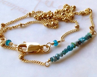 Diamond bar necklace, raw teal Diamonds, layering bracelet, Neon Apatite, Gold filled, Camp Sundance, Gem Bliss
