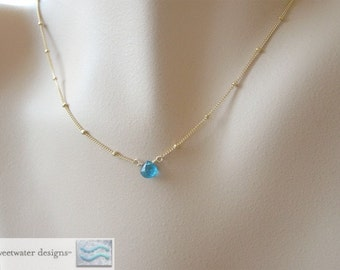 Tiny Apatite, solitaire necklace, Gold filled Necklace, Camp Sundance, Gem Bliss