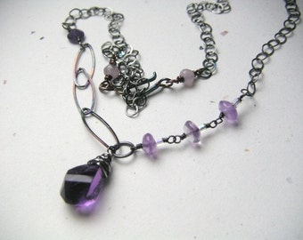 Silver Amethyst necklace Camp Sundance Sterling Silver necklace, Gem Bliss