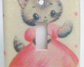 Kitty in Pink Dress Light Switch Plate