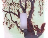 Tree Squirrel Green Light Switch Plate