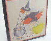 Vintage Witch and Cauldron Halloween Tile Coaster