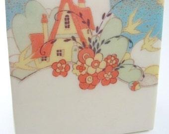 Art Deco Cottage Tile Coaster