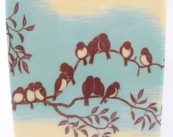 Blue Gathering Birds Coaster