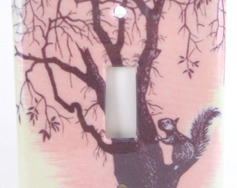 Tree Squirrel Pink Light Switch Plate