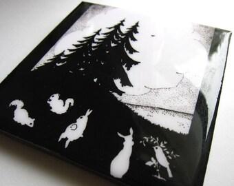 Animal Gathering Silhouette Tile Coaster