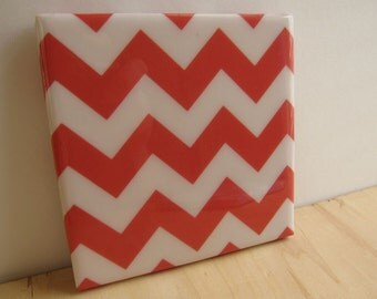 Chevron Stripes Red Tile Coaster